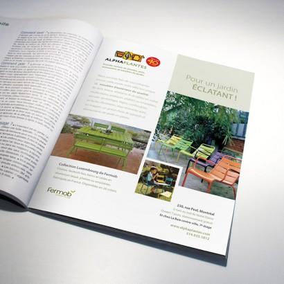 Publicité magazine des meubles de jardins Fermob Alphaplantes