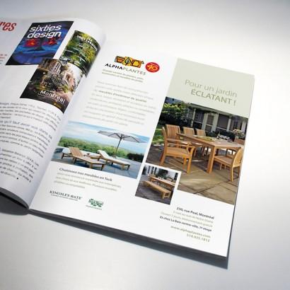Publicité magazine des meubles de jardins Kingsley-Bate Alphaplantes