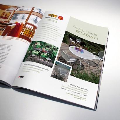 Publicité magazine des meubles de jardins Emu Alphaplantes