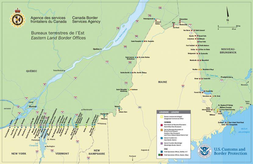 Carte géographique des postes frontaliers ASFC