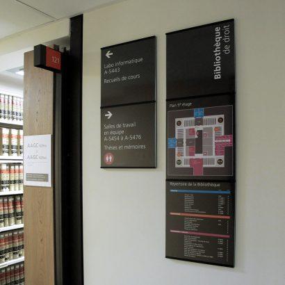 Panneaux de la bibliothèque de la droit de l'UdeM Anick Blais Design
