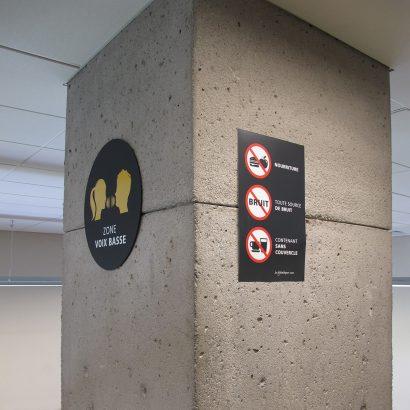Panneau interdit de la bibliothèque de la droit de l'UdeM Anick Blais Design